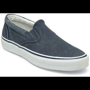 Sperry Striper Slip On navy boat shoe / sneaker